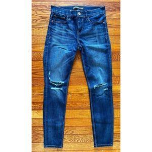 dark wash, distressed skinny jean